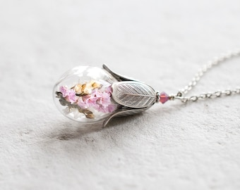 Real Flower Necklace, Terrarium Necklace, Pink Lavender Flower Glass Bottle Silver Tulip Pendant Necklace, Mothers Day gift for mom