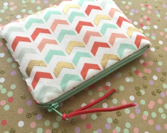 Arrows Print change purse- coin purse - small zipper pouch - herringbone print zipper pouch - coral - gold - mint green - small change purse