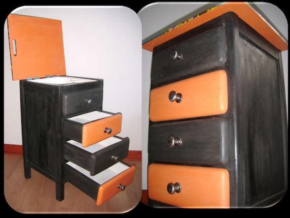 shabby chic kommode mit emaille waschbecken und schubladen. Black Bedroom Furniture Sets. Home Design Ideas