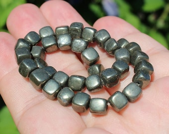 2 square pyrite color 6 X 6 X 6 MM pyrite beads.