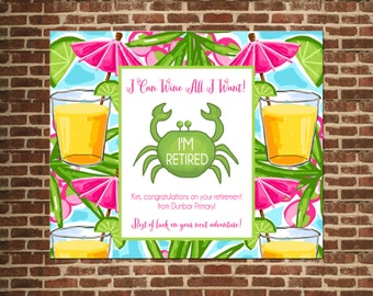 Retirement Wine Label - I Can Wine All I Want - Retirement Gift - Wine label - custom labels
