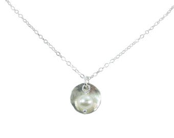 1/2 inch Beaded Circle Necklace in Sterling Silver