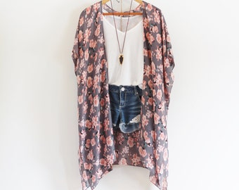 Long bohemian kimono * Rose pattern * Tassels * ROSE *
