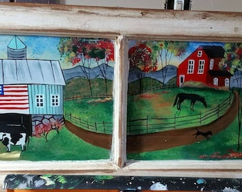 Reverse Folk Art Painting on Old Window Cows, Barn, Horses, Americana