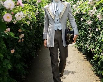Steampunk Wedding Elegant Gothic Aristocrat Dandy False 2pcs Tuxedo Jacket for Man