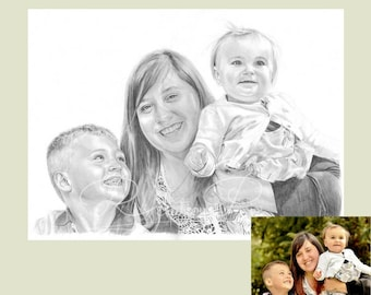 Fathers day, gifts for him, gifts for Dad,Special occasion gift ideas. hand drawn pencil portrait gifts from your favourite photo,