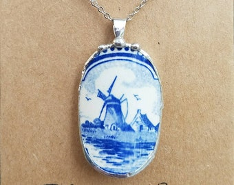 Blue Delft, Broken china jewelry, broken china necklace, antique broken plate, soldered pendant, gift for mom, grandma, something blue