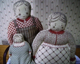 Dolls, Cloth, Primitive, Happy Family of Three, Cut, Stuff, and Sew, Vintage Sewing Craft, Mother, Father, Daughter, 3 piece set, Prims