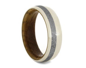 Meteorite Wedding Band, Wood Ring, Unique 14k White Gold Ring With Whiskey Barrel Wood Sleeve