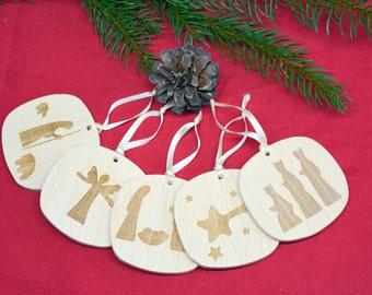 Wooden nativity ornaments Nativity ornaments Nativity Christmas decor Nativity holiday decor Christmas nativity ornament Christian gifts