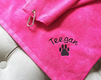 Personalized Dog Towel- Personalized Embroidered Grommeted Microfiber Dog Towel