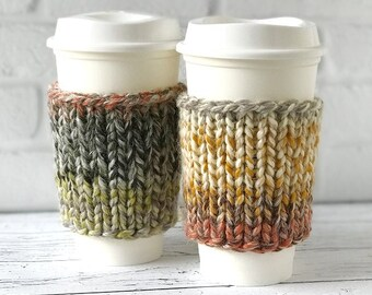 2 Ombre Coffee Cozies, Chunky Knit Coffee Sleeves, Chunky Knits, Chunky Coffee Cozies, Holiday Gift, Christmas Gift, Teachers Gift