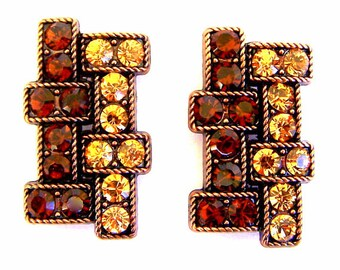 ON SALE - 2 Art Deco style beads, large topaz crystal two hole slider beads, light topaz and smoked topaz geometric design