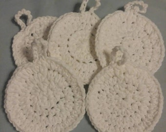 Makeup remover pads, face scrubbies, assorted pads, reusable face scrubbies, reusable makeup remover pads, hand crocheted