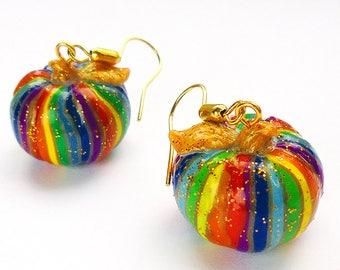 Halloween jewelry, Pumpkin earrings, Halloween earrings, Pumpkin jewelry, Pumpkin clip on earrings, Rainbow pumpkin, Halloween pumpkin