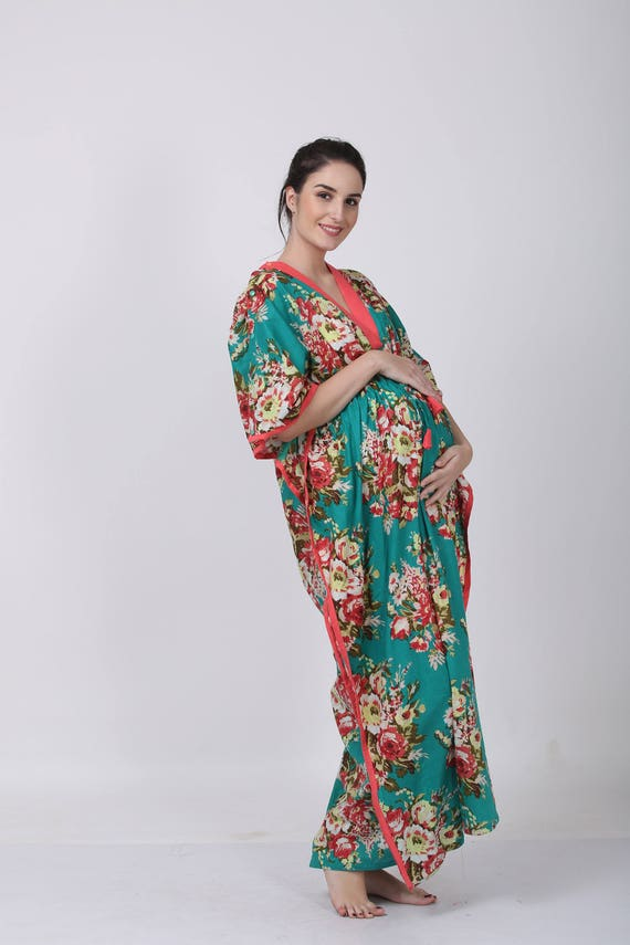 FLORAL Kaftan, birthing and feeding gown, for mothers to be, baby shower, kaftan, beach cover up, Custom Made