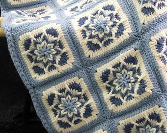 PDF Pattern - AMAZING STAR Afghans - 4 Crochet Starburst Designs - Square,Lg Square,Round,Hexagon. Fun To Make Show Stopper Afghans!