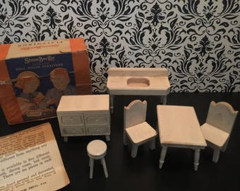 """Strombecker Vintage Complete Kitchen Set Original Box   Wood Dollhouse Miniatures 1930s-1940s   Sink Oven Table Chairs Stool   3/4"""" Scale"""