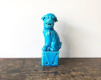 Turquoise Ceramic Foo Dog Statue, Foo Dog Figurine