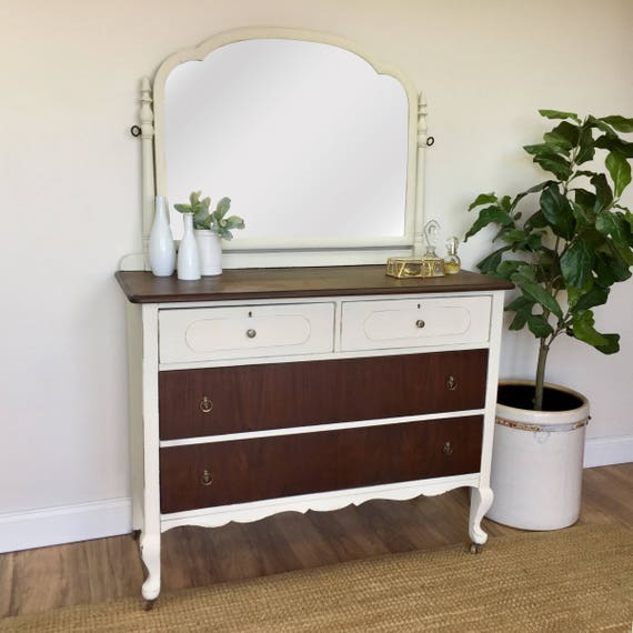 Farmhouse Dresser - Shabby Chic Furniture - White Dresser with Mirror - Antique Chest of Drawers - Dresser with Mirror - Vintage Furniture