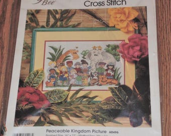 """Sealed 1992 Golden Bee PEACEABLE KINGDOM Picture #60496 Counted Cross Stitch Kit 16""""x12"""""""