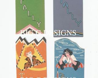 Four vintage Art Deco flapper bridge tallies tally digital download printable instant image clip art
