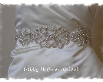 Rhinestone Crystal Bridal Sash, Vintage Inspired Wedding Dress Belt, Silver Beaded Wedding Sash, Wide Jeweled Bridal Sash, No. 2011S1171-4
