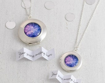 Locket Necklace, Personalized Locket, Message Necklace, Engagement Gift, Celebration gift, Silver Locket, Personalized Jewelry