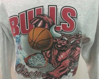 90s Chicago Bulls Sweatshirt - Wrap Around Graphics - 1990s Vintage Clothes - Official Licensed NBA Clothing - Collectible Jordan Era Shirt