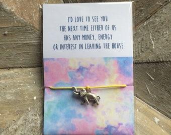 I'd Love To See You... - Elephant Adjustable Cord Wish / Friendship Bracelet