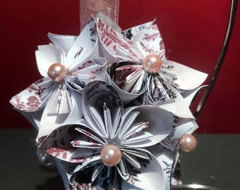 "Handmade ""Pink Snowflakes"" Kusudama Flower Christmas Ornament"