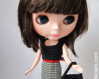 OOAK Black crocheted Outfit set for Blythe