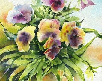 """Flower bouquet painting - original watercolor painting """"Kiss me quick flower"""" paper"""