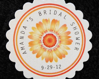 Bridal Shower Favor Tags - Personalized Tags - Orange - Gerbera Daisy - Thanks You Tags, - Gift Tags