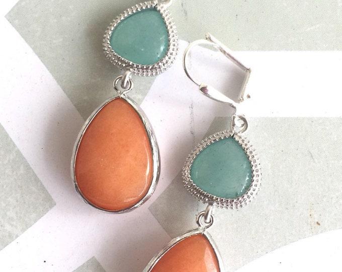 SALE Orange and Aqua Mint Dangle Teadrop Earrings in Silver.  Drop Earrings. Fashion Orange Jewel Earrings. Modern Jewelry.  Drop Earrings.