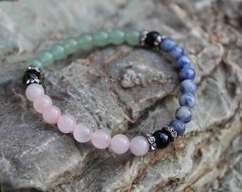 Protection from Other People's Emotions Empath Bracelet, Reiki Blessed, Green Aventurine, Black Tourmaline, HSP, Yoga Bracelet, Mala