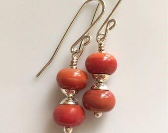 Red Glass Earrngs / Lampwork Glass / Orange Red Earrings / Sterling Silver Earrings