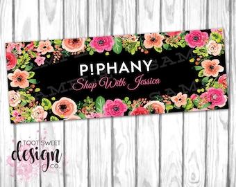 Piphany Facebook Cover Photo, Piphany FB Cover Image, Stylist Online Shop Sign / Social Media Banner, Black Floral Design, DIGITAL for WEB