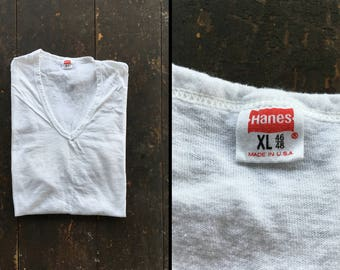 Vintage 70s V Neck Hanes Undershirt Mended White Distressed Cotton Made in USA - XL