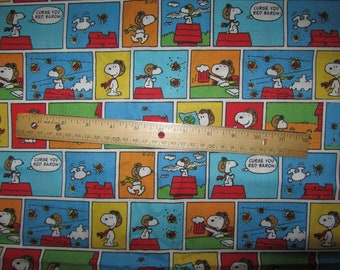 Multicolored Snoopy Red Baron Blocked  Cotton Fabric by the Half Yard