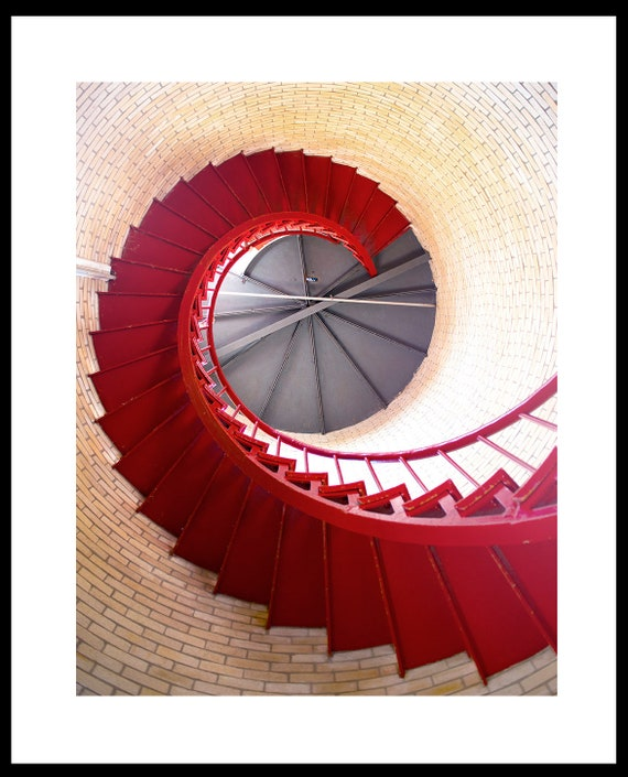 Lighthouse Stairs Photo, Cape Cod Print, Red Interior Stairs Image, Nauset Light, Nautical Image, Beach House Decor, Spiral Staircase