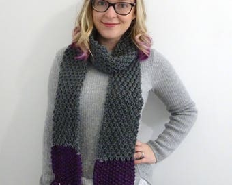 Grey and Purple Long Scarf