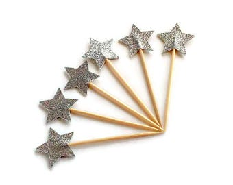 Silver Star Cupcake Toppers - Set of 12+ Twinkle Twinkle Little Star - Baby Shower, Birthday Party, Fun Decor - Die Cut