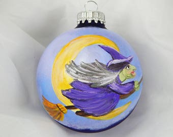 Halloween Ornament. Hand-Painted Ornament. Painted Ornament. Glass Ornament. Witch. Autumn Ornament.