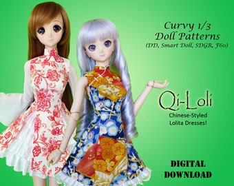 Qi-Loli Chinese Lolita dress sewing clothes pattern for Curvy 1/3 60cm BJD: SD, SDGR, Dollfie Dream, Smart Doll, dd