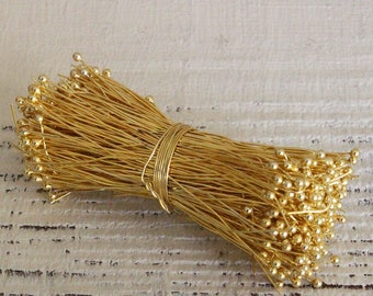 Gold Vermeil Balled Headpins For Jewelry Making Supply - Gold Findings - Gold Headpins - Choose Amount And Size