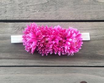 Hot Pink floral headband - pink flowers - flower - elastic