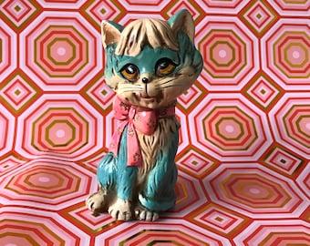 Vintage Holiday Fair Chalkware Kitty Bank