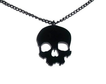 Black Skull Necklace, Creepy Laser Cut Jewelry