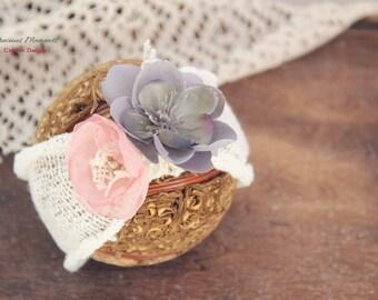 Newborn Photo Prop- Newborn Headwrap,  Newborn Turban, Flower Headwrap, Newborn Headband, Vintage Headband, Baby Girl Photo Prop, Lavender